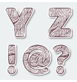 Set of capital letters Y Z from the alphabet vector image