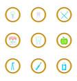 teeth health icons set cartoon style vector image