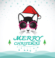 Merry christmas greeting cat card vector image
