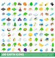 100 earth icons set isometric 3d style vector image
