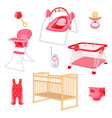 bedroom furniture for newborn girl on white vector image