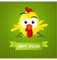 Green Easter Background with Yellow Funny Chicken vector image vector image