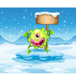 A green monster above the iceberg with an empty vector image vector image