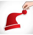 christmas cap sticker vector image