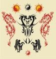 dragon triball tatto vector image vector image