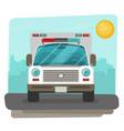 ambulance car flat front view vector image