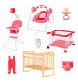 bedroom furniture for newborn girl on white vector image