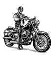 biker riding a motorcycle engraved vector image