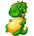 Cartoon smile dinosaur glut eating vector image