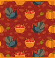 colorful pattern with cartoon turkey bird and vector image
