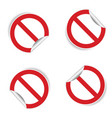 no sign sticker set vector image