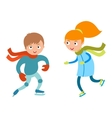 Pretty cheerful little girl and boy thermal suits vector image