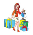 woman with giftbox and shopping bags vector image