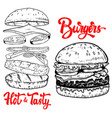 set of hand drawn burgers design elements for vector image