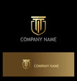 Shield building gold company logo vector image