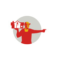 House Remover Carrying House Circle Retro vector image