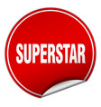 superstar round red sticker isolated on white vector image