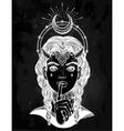 Hand drawn artwork of female demon portriat vector image