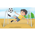 A soccer player kicking a soccer ball vector image
