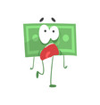 cartoon green dollar with scared face expression vector image