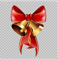 christmas decoration golden bells on red ribbon vector image