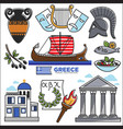 greece travel and culture landmarks sightseeing vector image