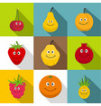 happy smiling fruit icons set flat style vector image