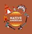 native american weapons tools icons set vector image