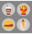 Set of icons fast food coffee potato hamburger hot vector image