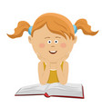 Smart little girl sitting with an open book vector image