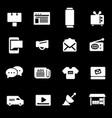 white advertisement icons set vector image