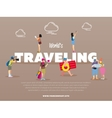 World traveling banner with people vector image