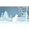 Winter snow-covered forest White cat looking at a vector image