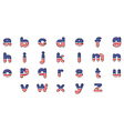 Letters of the alphabet with the American flag vector image vector image