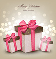 Vibrant christmas background with gift boxes vector image
