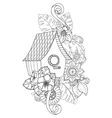 Hand drawn outline nesting box decorated with vector image