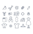 Sewing tools flat thin line icons vector image