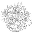 hand drawn doodle outline elephant vector image