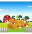 Four chickens in the hay with a barn at the back vector image