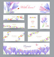 fashion collection of greeting cards with crocus vector image