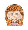 color pencil drawing of caricature half body girl vector image