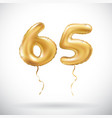 golden number 65 sixty five metallic balloon vector image