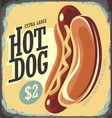 Hot Dog Retro Tin Sign vector image vector image