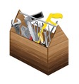Tool box with object tool on white background vector image