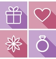Line icons for valentines day or wedding design vector image