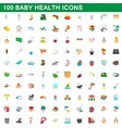 100 baby health icons set cartoon style vector image