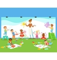 Young Children In Art Class Drawing And Painting vector image