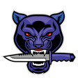 panther head bite a military blade vector image vector image