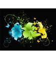 multicolored flowers on black background vector image