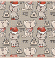 seamless pattern with the cute cats with santa hat vector image